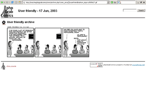 Screenshot of a page with an older daily comic